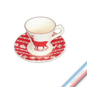 Collection MONTAGNE ROUGE - Tasse et soucoupe café - 0,05L / 11,5cm -  Lot de 4