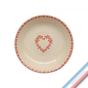 Collection TENDRE ROUGE - Assiette creuse - Diam  21 cm -  Lot de 4