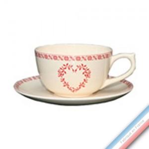 Collection TENDRE ROUGE - Tasse et soucoupe déjeuner  - 0,25L / 17,5cm -  Lot de 4