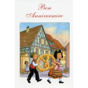 Carte de voeux Alsace Ratkoff - Bon anniversaire bretzel