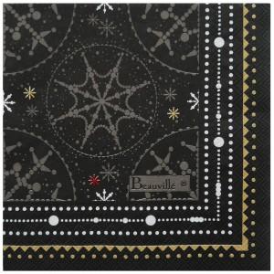 """Paquet de 20 serviettes en papier """"Megève"""" anthracite"""