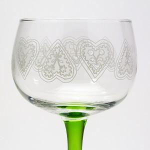 6 Verres à Vin d'Alsace motif MAÏDALÄ coeurs