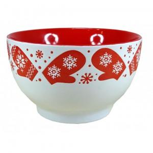 Bol Céramique motifs Flocons - coloris blanc