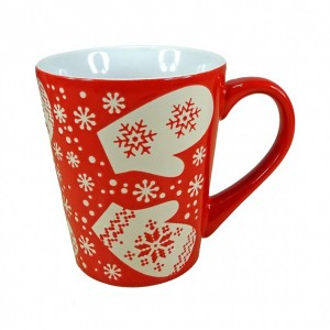 Mug en céramique motifs Flocons Hiver  - coloris rouge