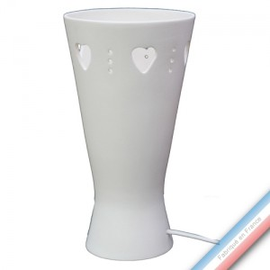 Collection S & W - Lampe Coeurs blanc mat - H 30 - Diam 16 cm -  Lot de 1