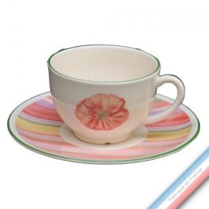 Collection COQUELICOTS & CAPUCINES - Tasse et soucoupe thé - 0,20L / 15,5 cm -  Lot de 4