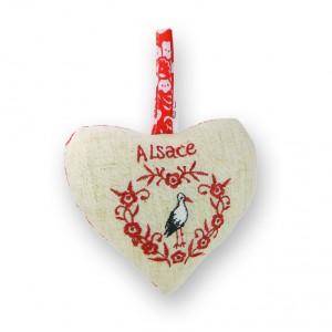 Coeur à suspendre Cigogne coeur rouge brodé