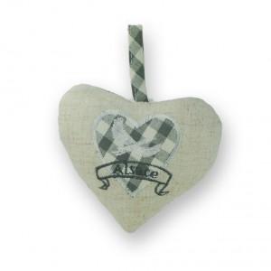 Coeur à suspendre Cigogne en vol gris, dos Vichy gris
