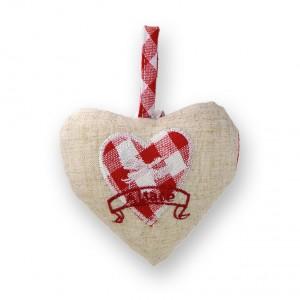Coeur à suspendre Cigogne en vol rouge, dos Vichy rouge