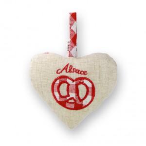 Coeur à suspendre Bretzel, dos Vichy rouge