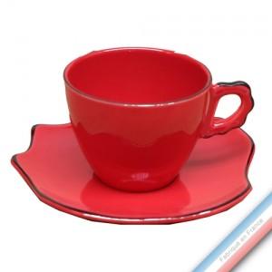 Collection ZAZA ROUGE - Tasse et soucoupe déjeuner - 19 cm - 0,29 L -  Lot de 4
