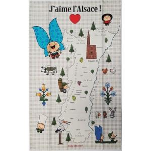 Torchon J'aime l'Alsace - Carte d'Alsace