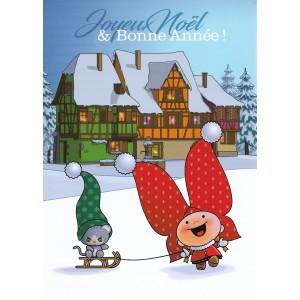 Carte de voeux Lovely Elsa - Joyeux Noël et Bonne Année (bleu)