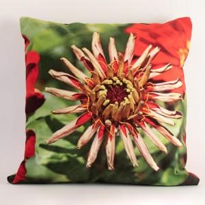 Coussin 40x40 cm collection fleurs - Zinnia rouge fond vert