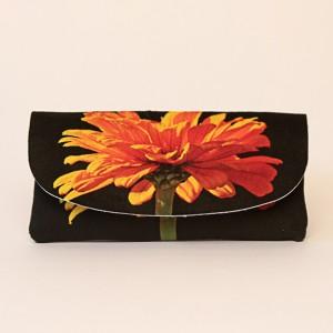 Etui à lunettes collection fleurs - Zinnia orange fond noir