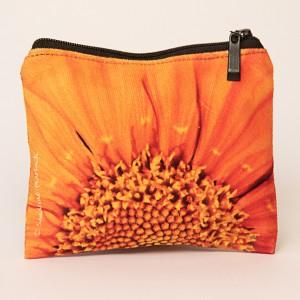 Porte-monnaie collection fleurs - Coeur soucis orange