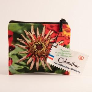 Porte-monnaie collection fleurs - Zinnia rouge fond vert