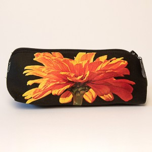 Trousse à crayons collection fleurs - Zinnia orange fond noir