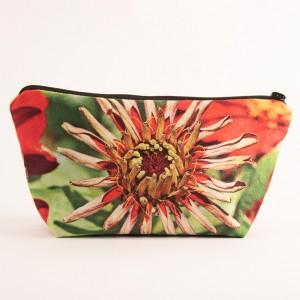 Trousse 3D collection fleurs - Zinnia rouge fond vert