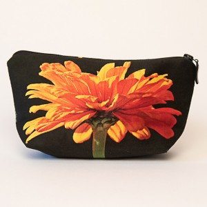 Trousse 3D collection fleurs - Zinnia orange fond noir