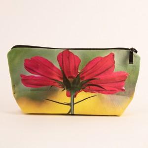 Trousse 3D collection fleurs - Cosmo fuschia fond jaune