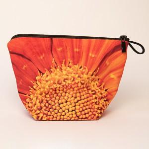 Vide poche + zip collection fleurs - Coeur soucis orange