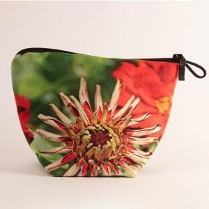 Vide poche + zip collection fleurs - Zinnia rouge fond vert