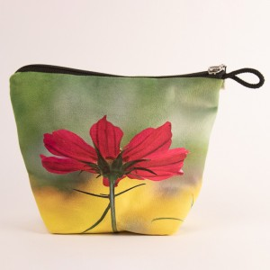 Vide poche + zip collection fleurs - Cosmo fuschia fond jaune