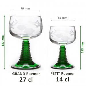 6 Verres à vin d'Alsace Roemer GRAND modèle 27cl motif 4 GRAPPES - taillé main