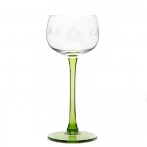 6 Verres à Vin d'Alsace motif CIGOGNE