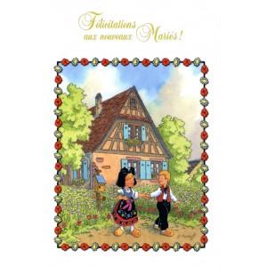"""Carte de voeux Alsace Ratkoff - """"Félicitations nouveaux mariés"""""""