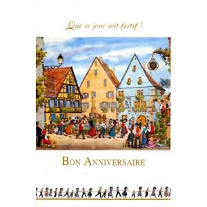 """Carte de voeux Alsace Ratkoff - """"Anniversaire"""" - la ronde"""
