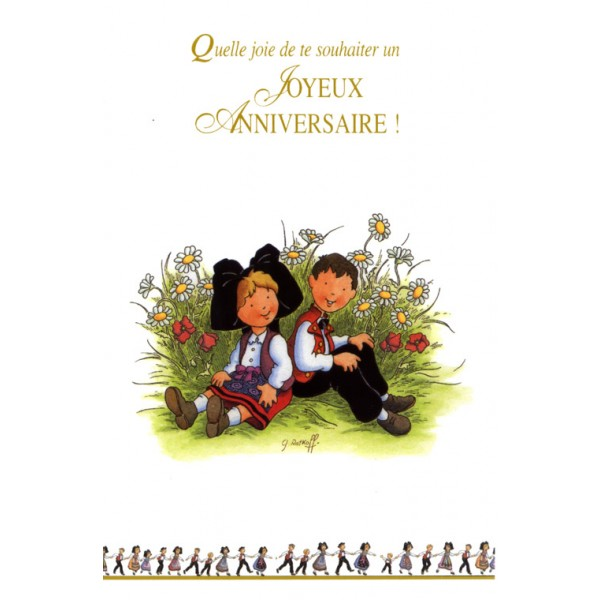 Carte De Voeux Alsace Ratkoff Joyeux Anniversaire Enfants Assis