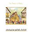 Greeting card Alsace Ratkoff - &quot;Pens&eacute;e d&#039;Alsace&quot; - (friendly thought from Alsace) - village and vineyards