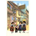 "Greeting card Alsace Ratkoff - ""Enfants dans la rue"" - (children in the street)"
