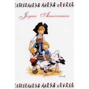 """Carte de voeux Alsace Ratkoff - """"Joyeux anniversaire"""" - cigognes"""