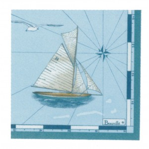 """Paquet de 20 serviettes en papier """"Voyages"""" turquoise"""
