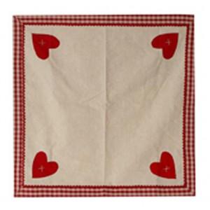Nappe carrée coeur rouge