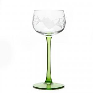 6 verres à vin blanc motif 4 grappes - taillé main