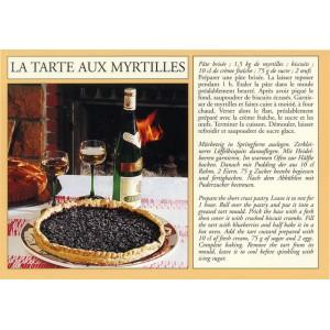 """Carte postale recette alsacienne - """"La tarte aux myrtilles"""""""