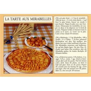 """Carte postale recette alsacienne - """"La tarte aux mirabelles"""""""
