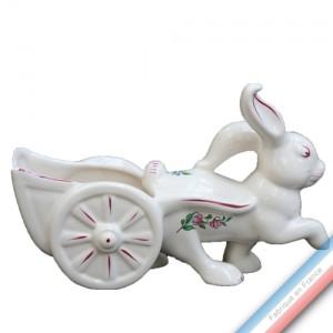 Collection REVERBERE déco  - Sujet lapin charrette - H 17 - L 24 cm -  Lot de 1