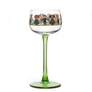 6 verres à vin blanc d'Alsace, motif Hansi