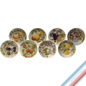 Collection BARBOTINES  - Assiettes fruits Série de 8 décors - Diam  22 cm -  Lot de 1