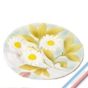 Collection BARBOTINES  - Assiette dessert marguerites - Diam  20 cm -  Lot de 4