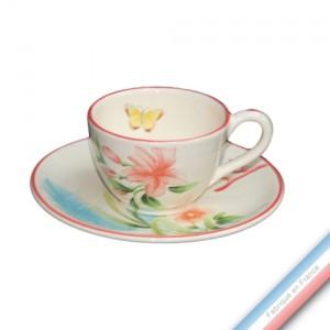 Collection FLEUR DE CORAIL - Tasse et soucoupe café - 0,05L / 11,5cm -  Lot de 4