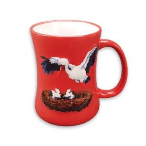 """Mug en céramique """"Cigogne"""" rouge"""