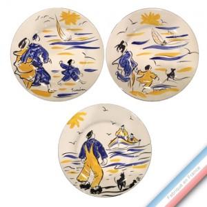 Collection BLEU SALE - Assiette plate - Diam  27 cm -  Lot de 3