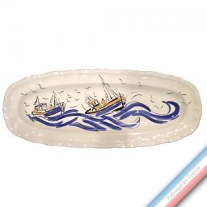Collection BLEU SALE - Plat poisson Louis XV - L 61 cm -  Lot de 1