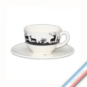 Collection PAPIERS DECOUPES NOIR fond BLANC - Tasse et soucoupe thé - 0,20 L / 15,5 cm -  Lot de 4